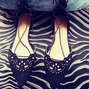 Black Lace up Leg Strappy Flats  sz 7.5W